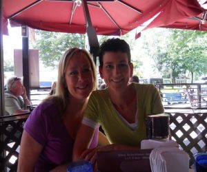 """Lisa and Sherry enjoy Wally's Bar and Grill - one of the great """" where to eat """" places in Saugatuck"""